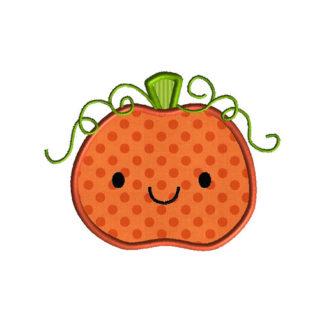 Cute Pumpkin Applique Machine Embroidery Design 1