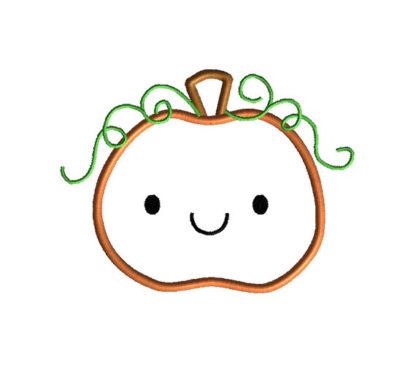 Cute Pumpkin Applique Machine Embroidery Design 2
