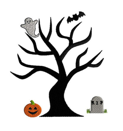 Halloween Tree Applique Machine Embroidery Design 3