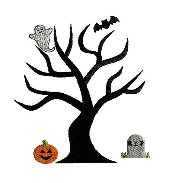 Halloween Tree Applique Machine Embroidery Design 3