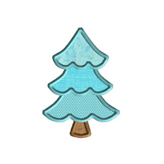 Alpine Christmas Tree Applique Machine Embroidery Design 1