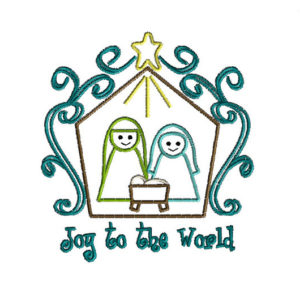 Joy to the World Nativity Applique Machine Embroidery Design 1