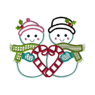 Snowman Love Applique Machine Embroidery Design