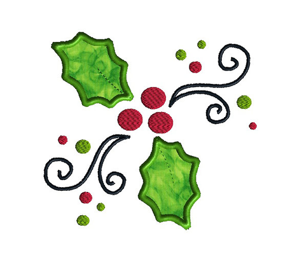 Jolly Holly Applique Machine Embroidery Design 1