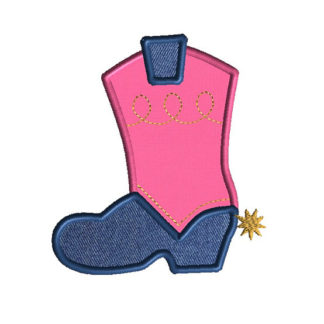 Cowboy Boot Applique Machine Embroidery Design 1