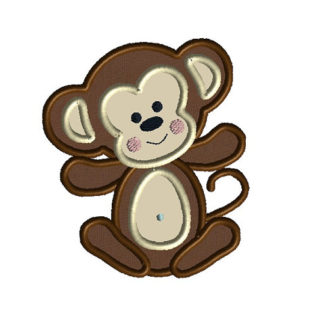 Baby Boy Monkey Applique Machine Embroidery Design 1