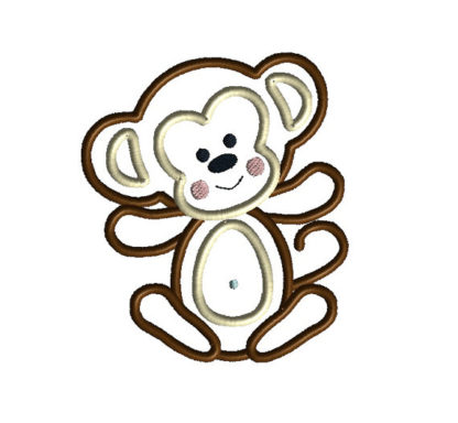 Baby Boy Monkey Applique Machine Embroidery Design 2