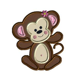 Baby Girl Monkey Applique Machine Embroidery Design 1