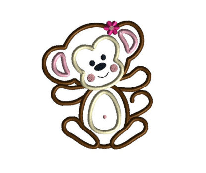 Baby Girl Monkey Applique Machine Embroidery Design 2
