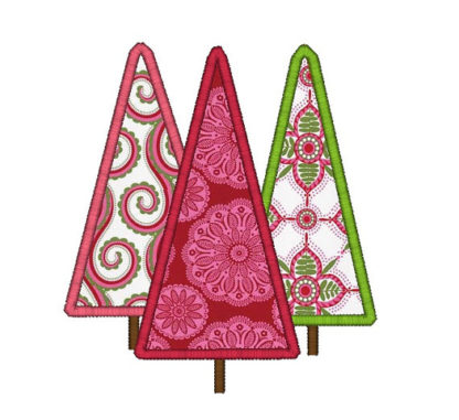Christmas Trees Applique Machine Embroidery Design 1