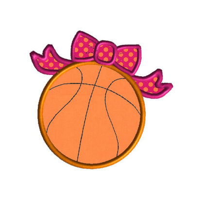 Basketball Bow Applique Machine Embroidery Design 2