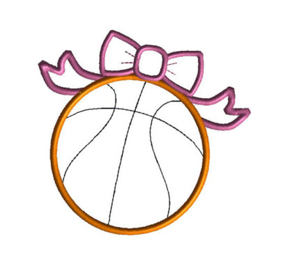 Basketball Bow Applique Machine Embroidery Design 3