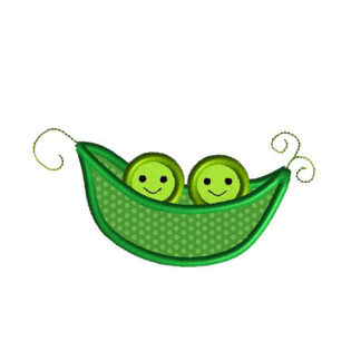 Two Peas in a Pod Applique Machine Embroidery Design 1