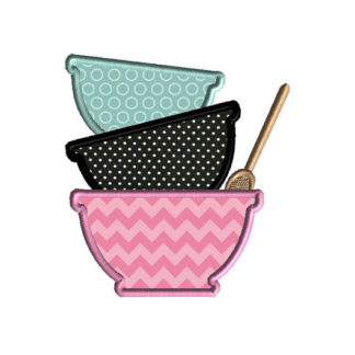 Mixing Bowls Applique Machine Embroidery Design 1