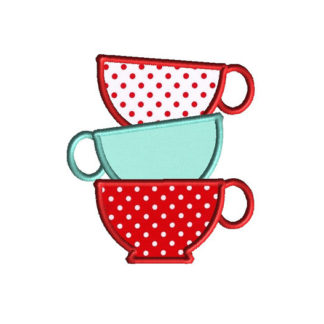 Teacup Stack Applique Machine Embroidery Design 1