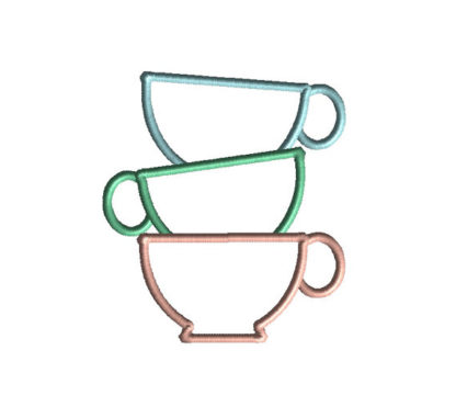 Teacup Stack Applique Machine Embroidery Design 2