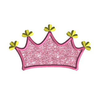 Princess Tiara Applique Machine Embroidery Design 1