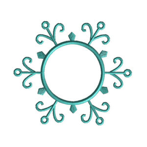 Snowflake Monogram Frame Applique Machine Embroidery Design 1