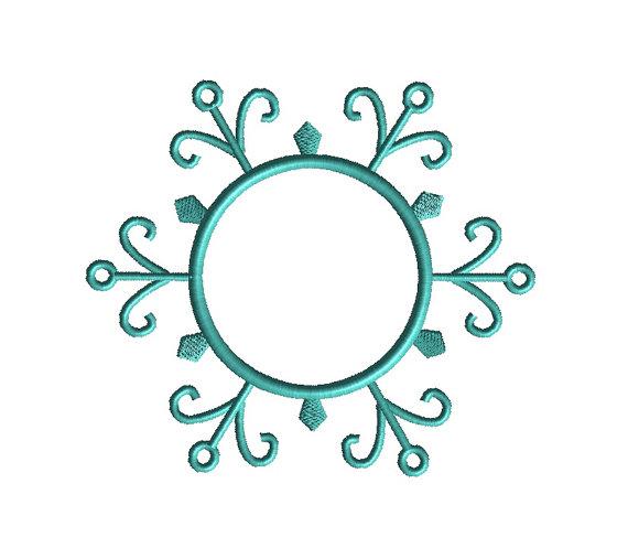 Snowflake Monogram Frame Applique Machine Embroidery Design 1