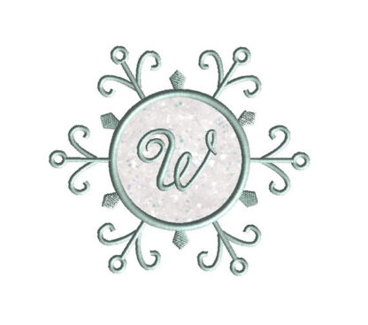 Snowflake Monogram Frame Applique Machine Embroidery Design 3