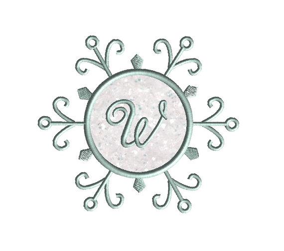 Snowflake Monogram Frame Applique Machine Embroidery Design 3