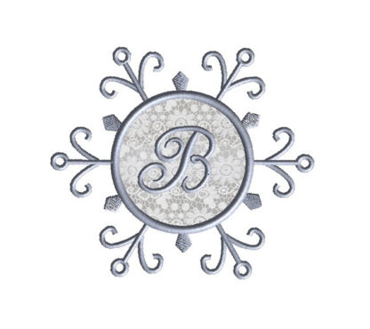 Snowflake Monogram Frame Applique Machine Embroidery Design 2