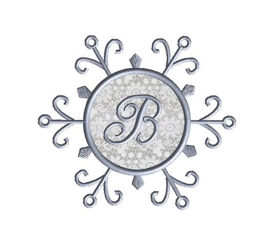 Snowflake Monogram Frame Applique Machine Embroidery Design 2