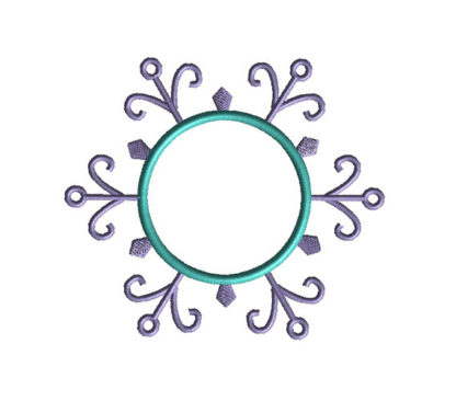 Snowflake Monogram Frame Applique Machine Embroidery Design 4