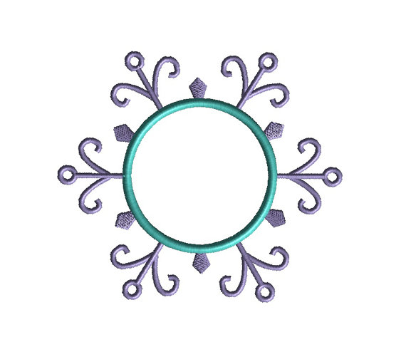 Snowflake Monogram Frame Applique Machine Embroidery Design 4