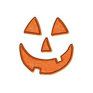 Pumpkin Face Applique Machine Embroidery Design 1