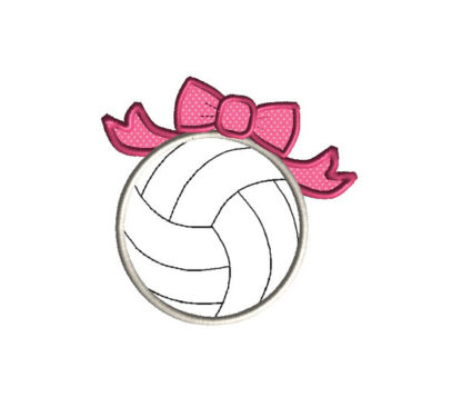 Volleyball with Bow Applique Machine Embroidery Design 2