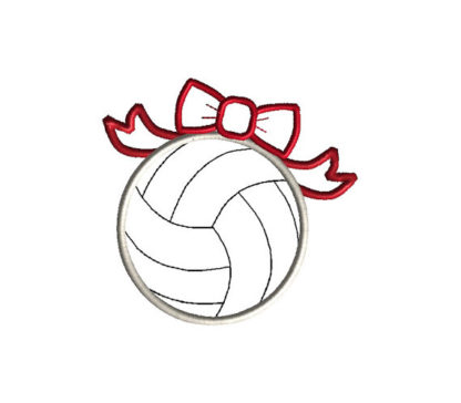 Volleyball with Bow Applique Machine Embroidery Design 1
