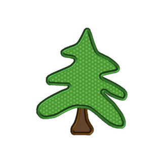 Woodland Christmas Tree Applique Machine Embroidery Design 1