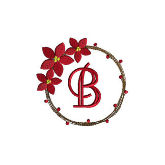Poinsettia Wreath Monogram Frame Applique Machine Embroidery Design 1