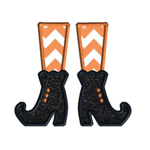 Witch Shoes Applique Machine Embroidery Design 1