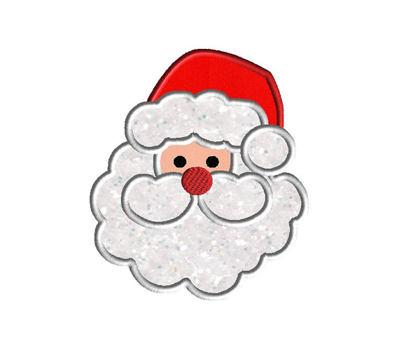 santa face applique machine embroidery design