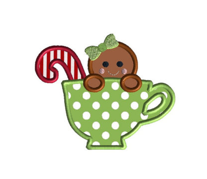 Gingerbread in a Teacup Applique Machine Embroidery Design 2