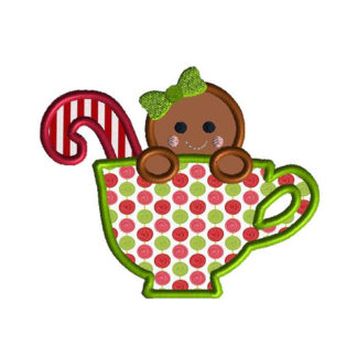 Gingerbread in a Teacup Applique Machine Embroidery Design 1
