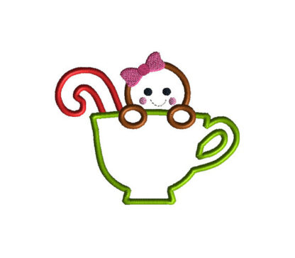 Gingerbread in a Teacup Applique Machine Embroidery Design 3