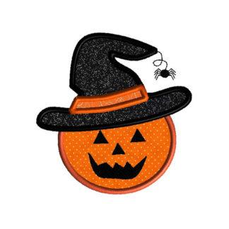 Pumpkin in Witch Hat Applique Machine Embroidery Design 1