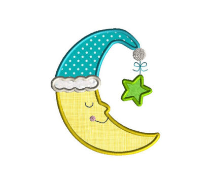 Sleepy Moon Applique Machine Embroidery Design 2