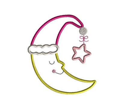 Sleepy Moon Applique Machine Embroidery Design 3