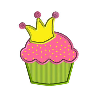 Princess Cupcake Applique Machine Embroidery Design 1
