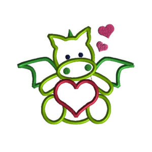 Valentine Dragon Applique Machine Embroidery Design 1