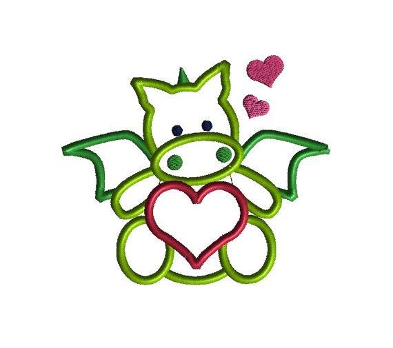 Valentine Dragon Applique Machine Embroidery Design 1