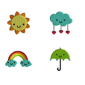 Mini Sun Cloud Rainbow Umbrella Machine Embroidery Design Set