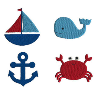 Mini Nautical Machine Embroidery Design Set