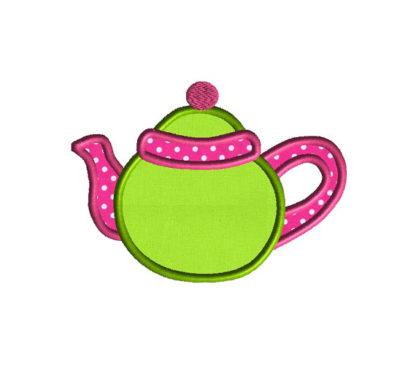 Teapot Applique Machine Embroidery Design 2