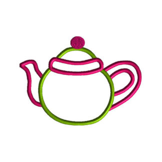 Teapot Applique Machine Embroidery Design 1