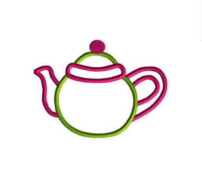 Teapot Applique Machine Embroidery Design 1